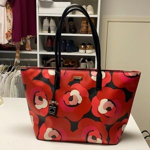 Kate Spade red floral tote in excellent condition